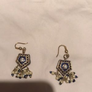 Jewelry - Custom made earrings blue pearl crystal